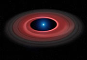 Artist's impression van de schijf van gloeiende materie rond de witte dwerg SDSS J1228+1040
