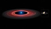 Impressão artística que compara o disco de material em torno da SDSS J1228+1040 com Saturno