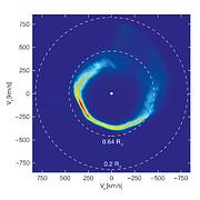 Die Bewegung der Materie um den Weißen Zwerg SDSS J1228+1040