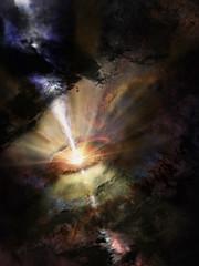 Ilustración de una fría lluvia intergaláctica