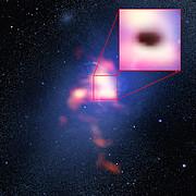 Image composée de la galaxie la plus brillante de l'Amas Abell 2597