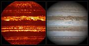 Sammenligning af billeder af Jupiter fra VISIR og i synligt lys