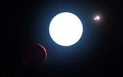 Vue d'artiste de la planète au sein du système HD 131399