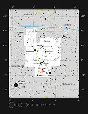 The star V883 Orionis in the constellation of Orion