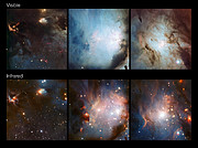 Comparisons between parts of the Messier 78 region in visible and infrared light