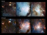 Sammenligning imellem dele af Messier 78 området i synligt og infrarødt lys