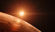 Illustration af TRAPPIST-1 exoplanetsystemet