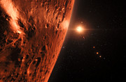 Artist's impression of view from planet in the TRAPPIST-1 planetary system