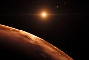 Impressão artística da vista de um planeta distante no sistema planetário TRAPPIST-1