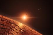 Impressão artística da vista de um planeta intermédio no sistema planetário TRAPPIST-1