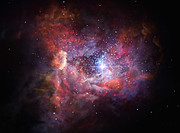 Künstlerische Darstellung der fernen staubhaltigen Galaxie A2744_YD4