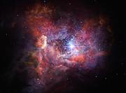 Kunstnerisk fremstilling av den fjerne, støvete galaksen A2744_YD4