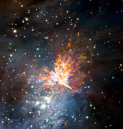ALMA beobachtet Sternenexplosion im Sternbild Orion
