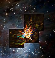 ALMA- und VLT-Aufnahmen einer Explosion im Sternbild Orion