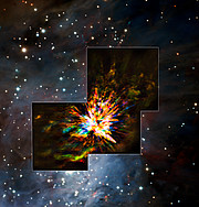 ALMA og VLT ser en eksplosion i Orion