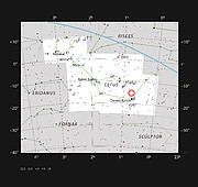 Location of the faint red star LHS 1140 in the constellation of Cetus (The Sea Monster)