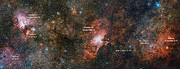 The VST captures three spectacular nebulae in one image (annotated)