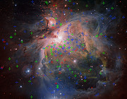The Orion Nebula showing three populations of young stars