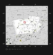 Der Stern WASP-19 im Sternbild Vela (Segel des Schiffs Argo)
