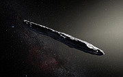 Concepção artística do asteroide interestelar 'Oumuamua