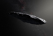 Imagem artística do asteróide interestelar 'Oumuamua