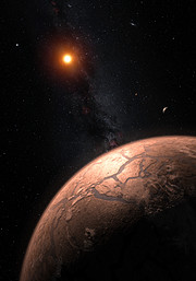 Illustration af TRAPPIST-1 planetsystemet