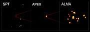 Bilder på en nyfödd galaxhop från teleskopen SPT, APEX och ALMA