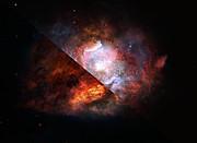 Vue d'artiste d'une galaxie à sursauts d'étoiles poussiéreuse