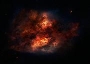 Künstlerische Darstellung einer staubigen Starburstgalaxie
