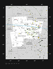 Mladá hvězda HD 163296 v souhvězdí Střelce