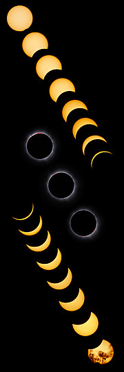 Imagem composta do eclipse total do Sol de 13 de novembro de 2012