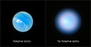 Neptune from the VLT with and without adaptive optics
