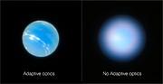 Neptuno obtido pelo VLT com e sem óptica adaptativa