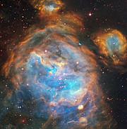 Des bulles de jeunes étoiles flamboyantes
