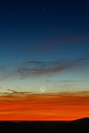 Første månenedgang efter formørkelsen