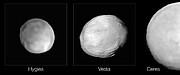 SPHERE-opnamen van Hygiea, Vesta en Ceres