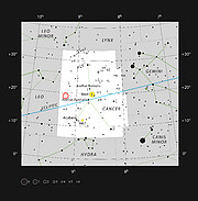 Location of WDJ0914+1914 in the constellation of Cancer