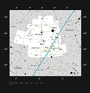 Location of AFGL 5142 in the constellation of Auriga