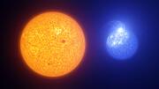 Flekker på solen sammenlignet med flekker på en ekstrem horisontal kjempegren-stjerne (illustrasjon)