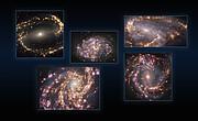 Изображения пяти галактик, полученные с приёмником MUSE на VLT ESO на нескольких длинах волн