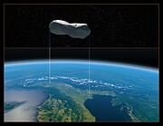 Comparaison entre les dimensions de l'astéroïde Kleopatra et celles du nord de l'Italie