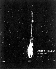 Comet Halley develops 15-degree tail
