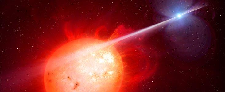Hvid dværgstjerne sender dødsstråle mod rød dværg