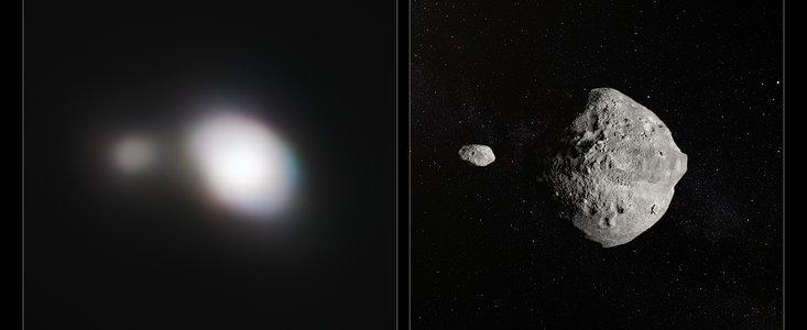 Dobbeltasteroiden 1999KW4, fotograferet af ESO da den passerede Jorden og et kunsterisk indtryk af den th.