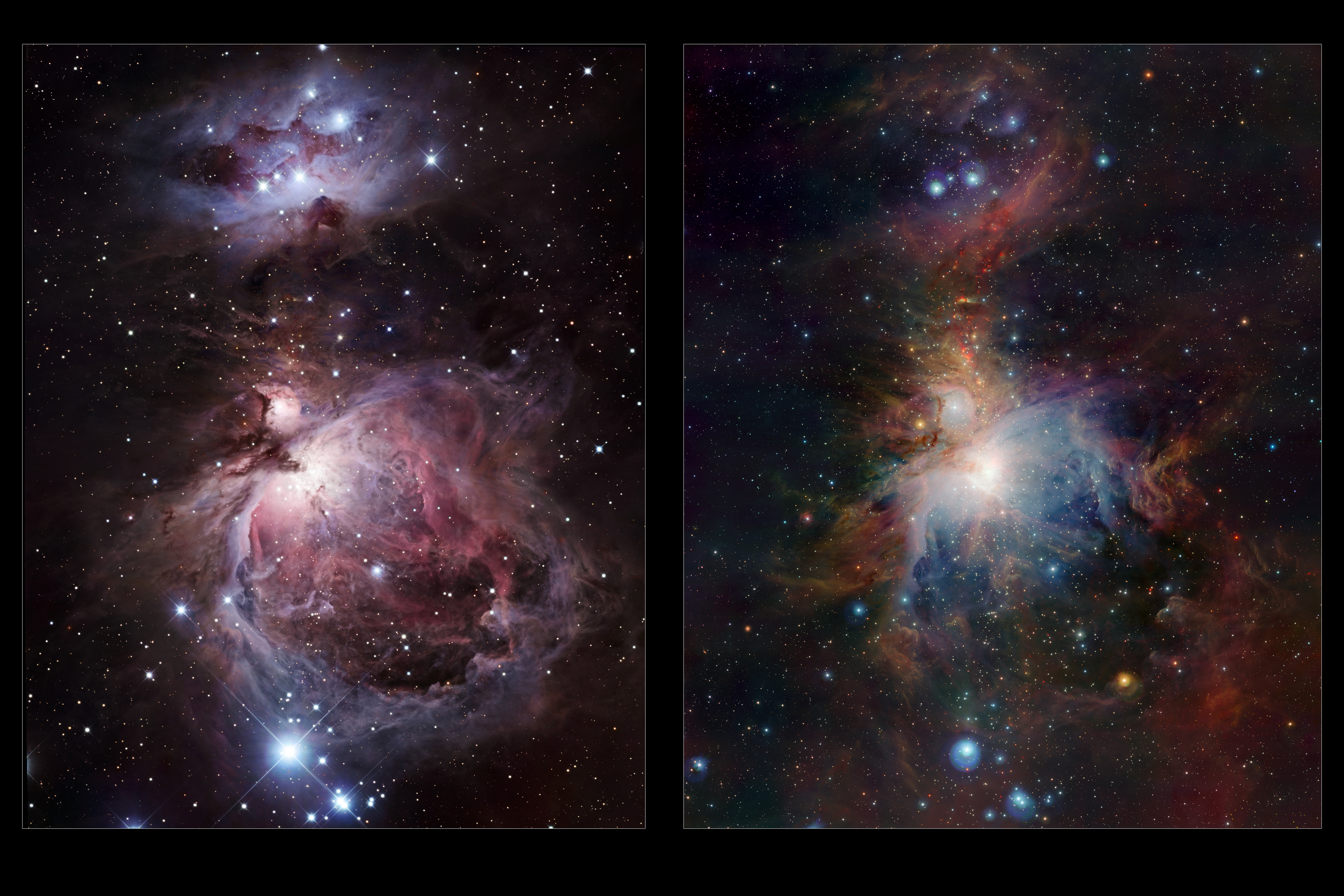 Infrared Visible Light Comparison View Of The Helix Nebula: Infrared/visible Comparison Of The Full VISTA Orion Nebula