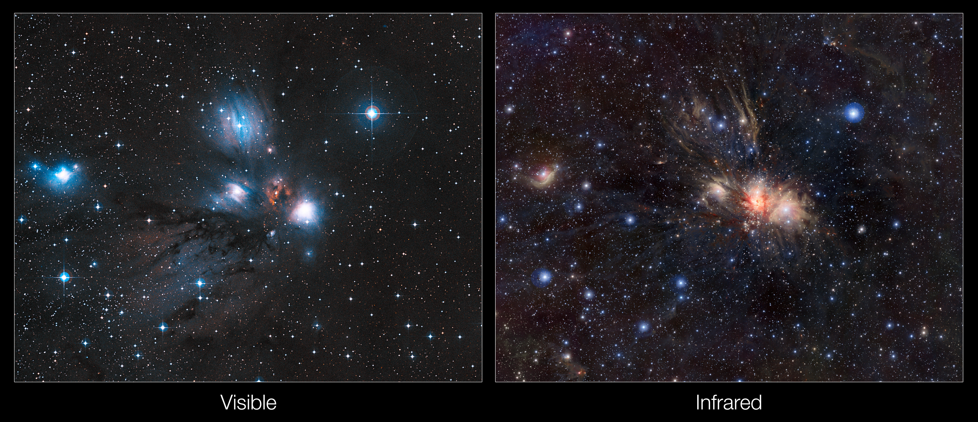Infrared Visible Light Comparison View Of The Helix Nebula: Infrared/visible Light Comparison Of Views Of A Stellar