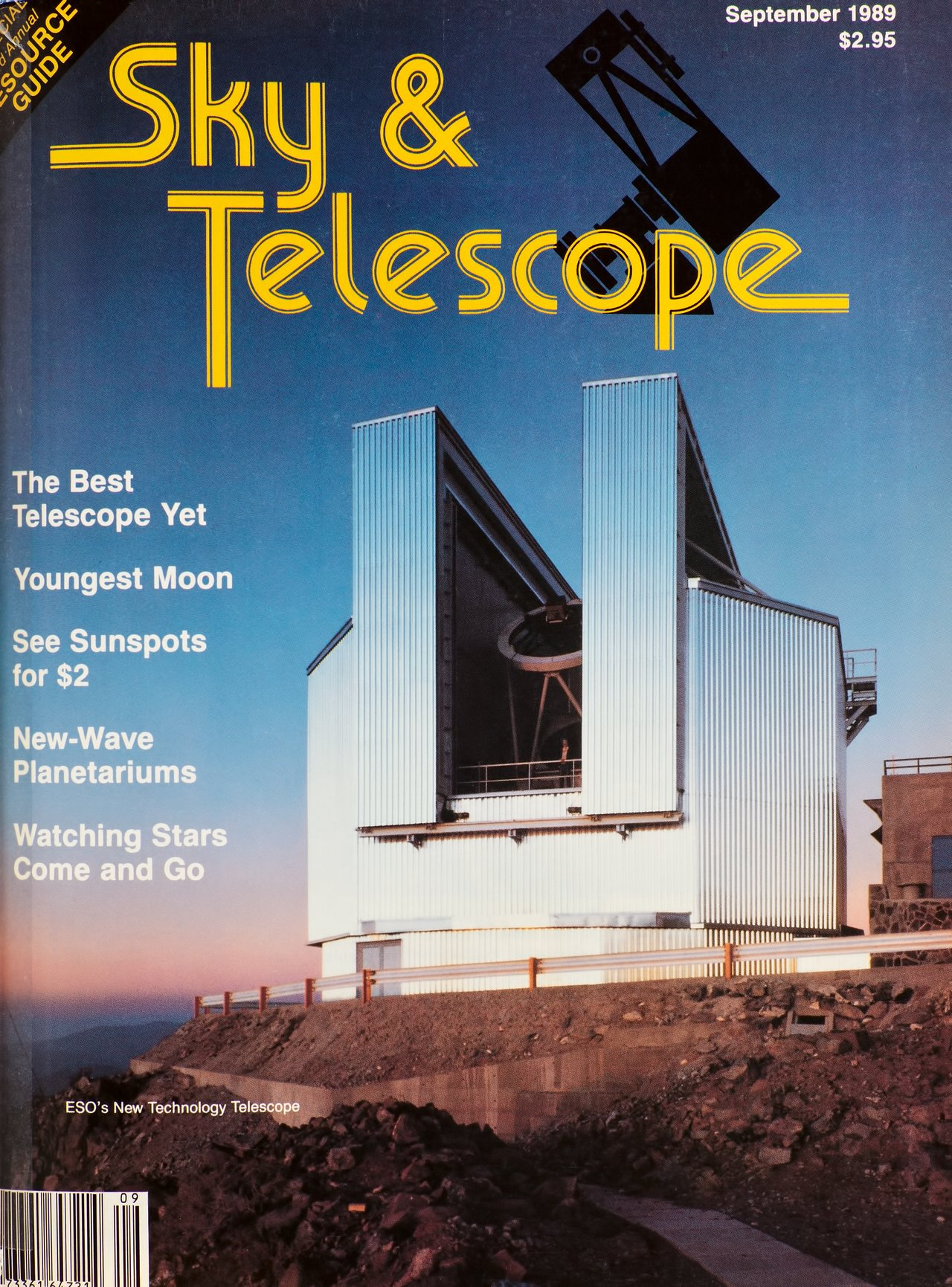 The NTT, cover of the Sky & Telescope Magazine in September 1989