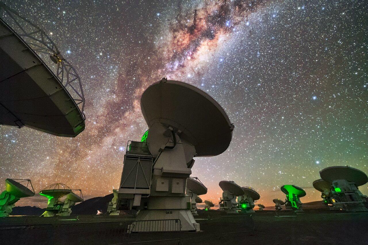 ALMA at night.  Credit: Sangku Kim/ESO.