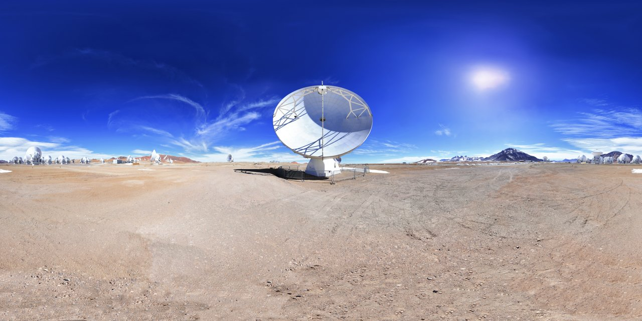 A panoramic image at the ALMA site with one of the antennas in the foreground.  Credit: F. Char/ESO.