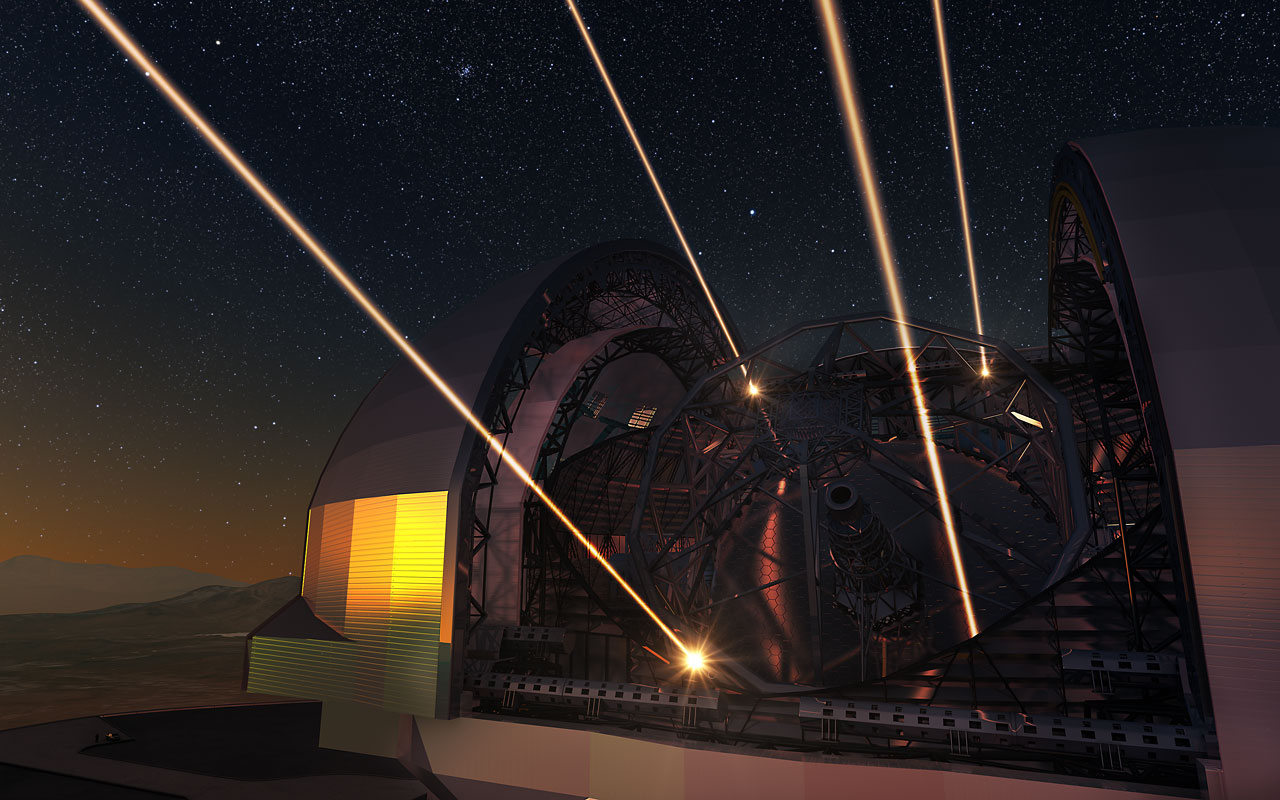 Artist's impression of the Extremely Large Telescope deploying lasers for adaptive optics
